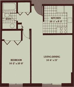 1br layout / 750 Sq. Ft.